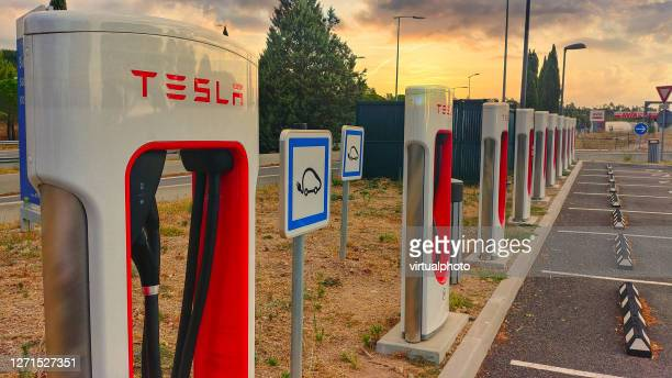 supercharger for tesla - brand name stock pictures, royalty-free photos & images