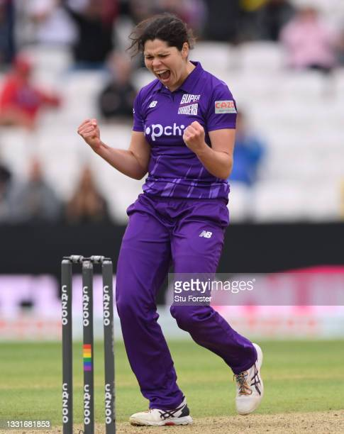 Superchargers bowler Alice Davidson-Richards celebrates after taking the wicket of Sarah Bryce during The Hundred match between Northern...