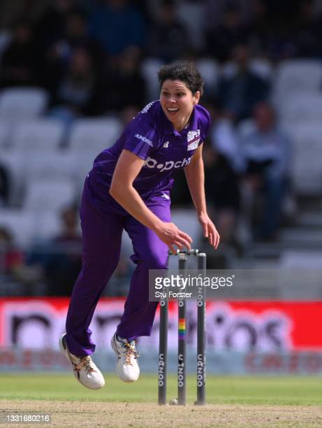 Superchargers bowler Alice Davidson-Richards in bowling action during The Hundred match between Northern Superchargers Women and Oval Invincibles...