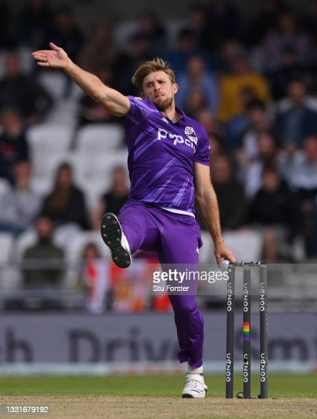 Superchargers bowler David Willey in action during The Hundred match between Northern Superchargers Men and Oval Invincibles Men at Emerald...