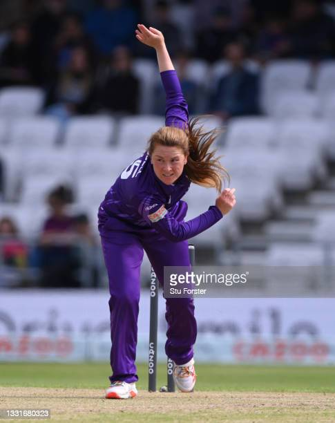 Superchargers bowler Liz Russell in action during The Hundred match between Northern Superchargers Women and Oval Invincibles Women at Emerald...