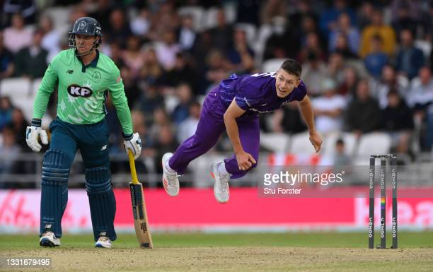 Superchargers bowler Matthew Potts in bowling action during The Hundred match between Northern Superchargers Men and Oval Invincibles Men at Emerald...
