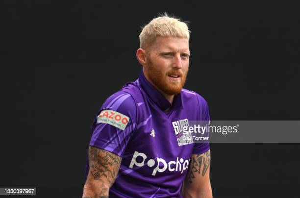 Superchargers captain Ben Stokes shows off his new blonde hair cut during The Hundred match between Northern Superchargers Men and Welsh Fire Men at...