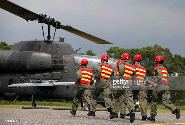 AH1 'SuperCobra' Attack Helicopter landing to be rearmed during a military drill on August 26 2013 in Taichung Taiwan This is an annual military...