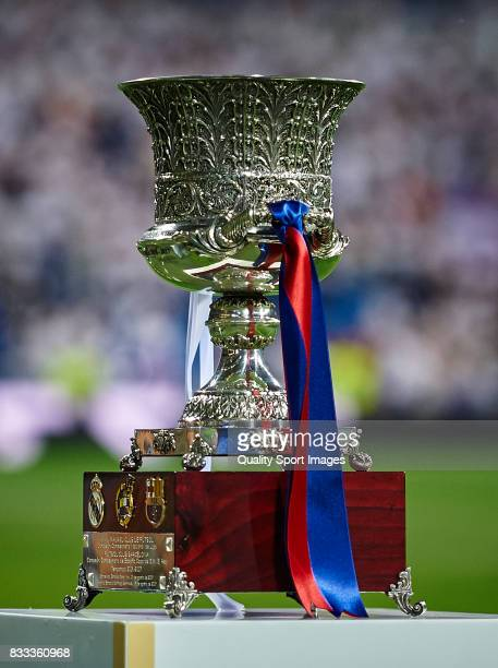 Supercopa trophy is pictured prior to the Supercopa de Espana Supercopa Final 2nd Leg match between Real Madrid and FC Barcelona at Estadio Santiago...