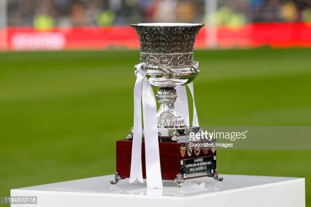 Supercopa trophy won by Real Madrid during the La Liga Santander match between Real Madrid v Sevilla at the Santiago Bernabeu on January 18, 2020 in...