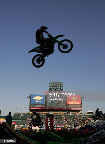 Supercross rider in action The Amp'd Mobile/AMA Supercross 2006 Series opener took place at Angel Stadium in Anaheim California on January 7 2006