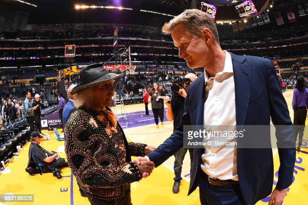NBA superfan James Goldstein talks with Steve Kerr of the Golden State Warriors after the game against the Los Angeles Lakers on November 29 2017 at...