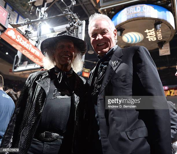 Superfan Jimmy Goldstein and Peter Holt Owner of the San Antonio Spurs pose for a picture in Game One of the Western Conference Finals during the...