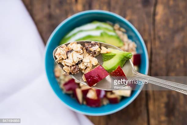 Superfood, avocado apple granola with organic hemp seeds