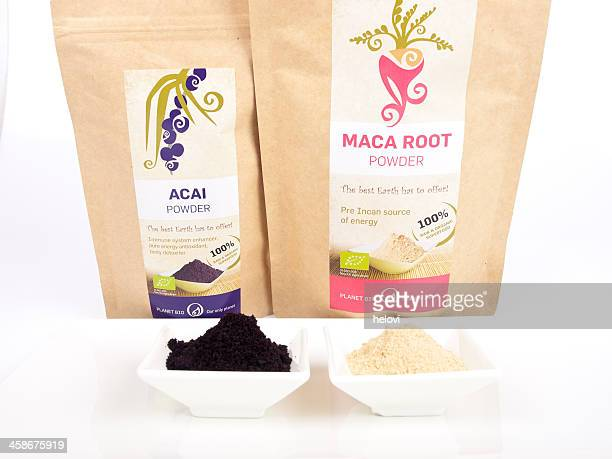 superfood collection - maca plant stock photos and pictures