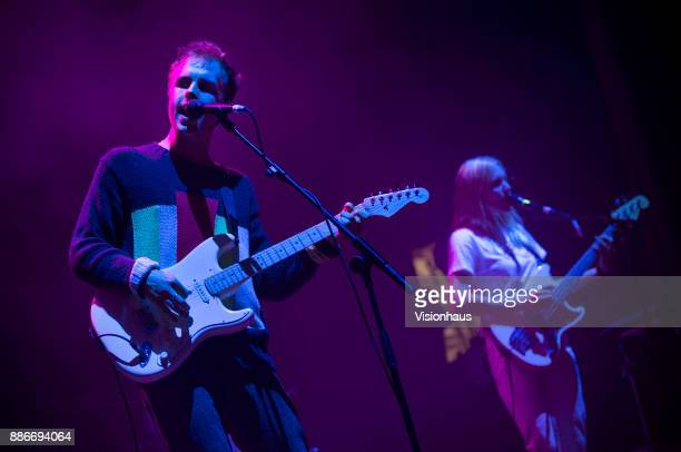 Superfood lead singer Dom Ganderton performs with the band as support to Wolf Alice at the O2 Apollo Manchester on November 9 2017 in Manchester...