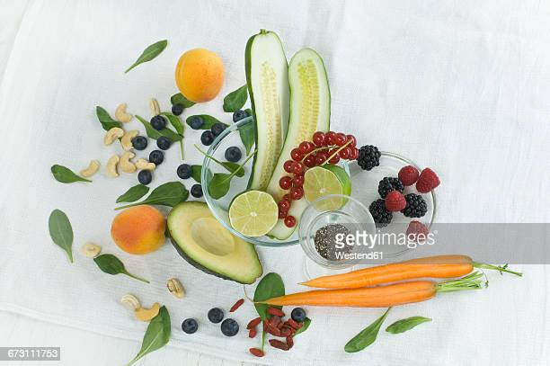 Superfood, various vegetables and fruits