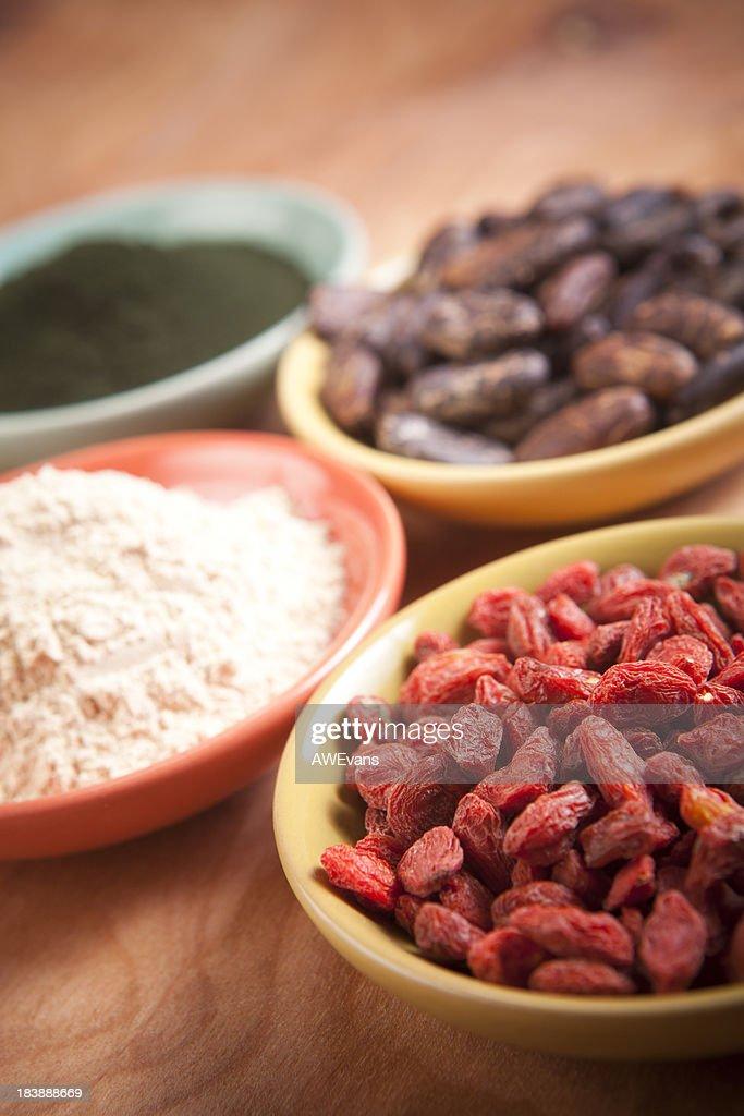 Superfoods: Goji, Maca, Cocao, Spirulina : Stock Photo