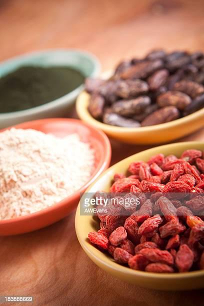 Superfoods: Goji, Maca, Cocao, Spirulina