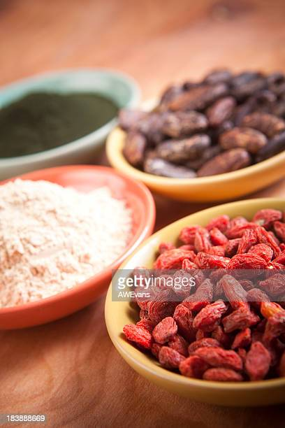superfoods: goji, maca, cocao, spirulina - maca plant stock photos and pictures