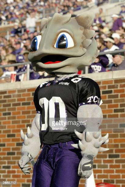 SuperFrog the mascot of the Texas Christian University Horned Frogs on the field during the game against the Southern Methodist University Mustangs...