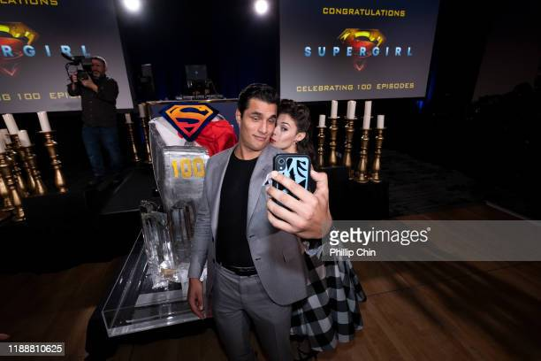Supergirl series regular actors Staz Nair and Nicole Maines attend the shows 100th episode celebration at the Fairmont Pacific Rim Hotel on December...