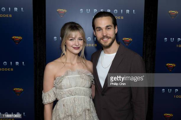Supergirl star Melissa Benoist and actor Chris Wood attend the red carpet for the shows 100th episode celebration at the Fairmont Pacific Rim Hotel...