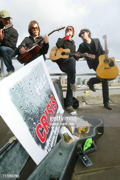 Supergrass and Carl Barat during Crisis Celebrity Busk November 15 2006 at South Bank in London Great Britain