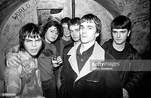 Supergrass and The Bluetones, backstage at Moles Club, Bath, United Kingdom, 1995. L-R Gaz Coombes and Mick Quinn of Supergrass, Eds Chesters, Adam...