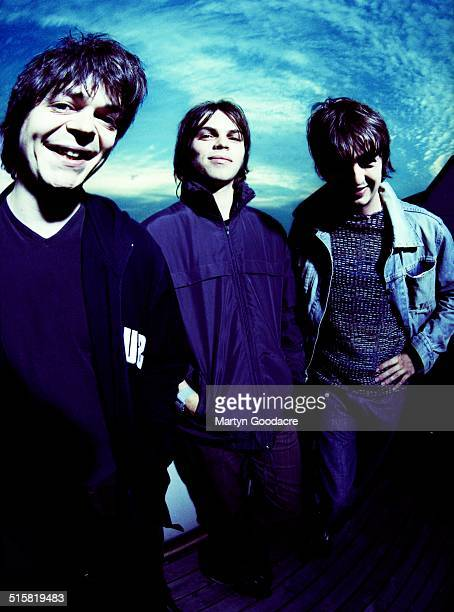 Supergrass, group portrait, United Kingdom, 1997. L-R Mick Quinn, Gaz Coombes and Danny Goffey.
