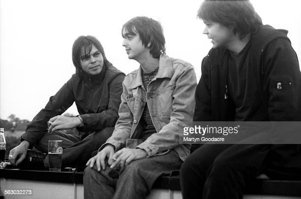 Supergrass, group portrait, United Kingdom, 1998. L-R Gaz Coombes, Danny Goffey, Mick Quinn.