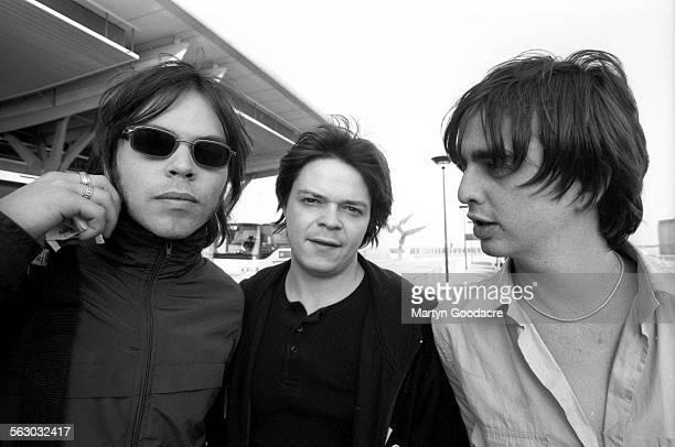 Supergrass, group portrait, United Kingdom, 1998. L-R Gaz Coombes, Mick Quinn, Danny Goffey.