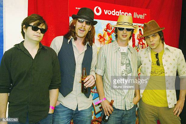 Supergrass pose backstage at the annual T4 Pop Beach outdoor concert on Great Yarmouth Beach on June 6, 2004 in Norfolk, England.