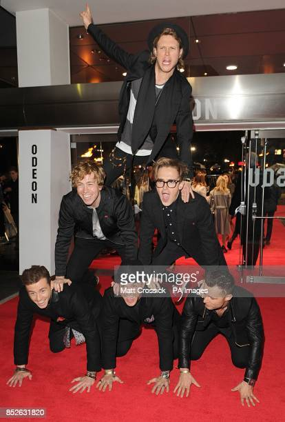 Supergroup McBusted arriving for the World Premiere of The Hunger Games Catching Fire at the Odeon Leicester Square London