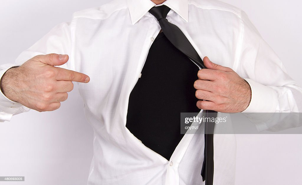Superhero Add Text to Chest Concept : Stock Photo