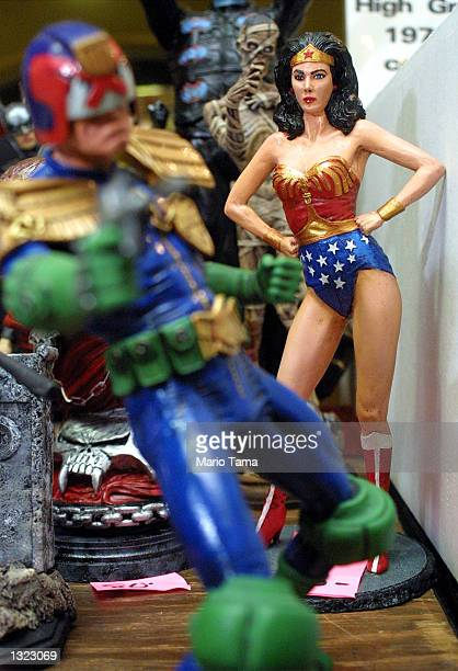 Superhero dolls are on sale July 6 2001 at the Big Apple Comic Book Art and Toy show in New York City