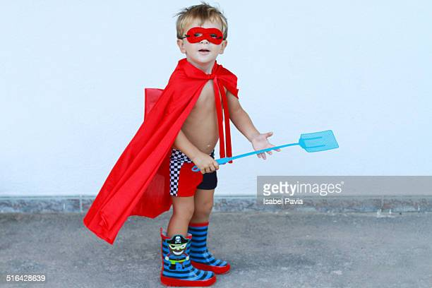 Superhero ready to catch insects