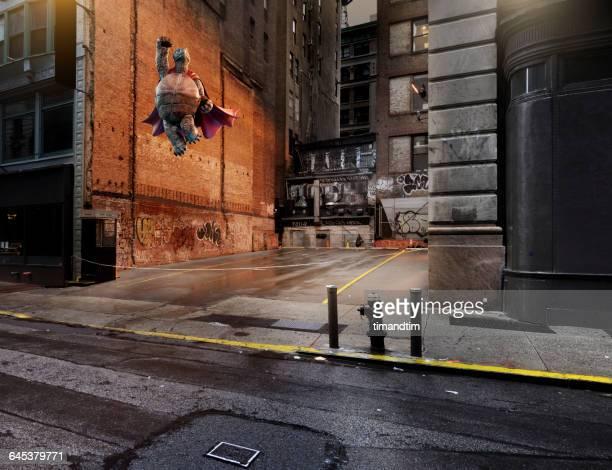 Superhero tortoise taking off