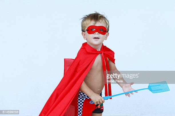 Superhero with a fly swatter