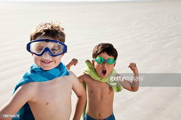 Superheroes at the beach