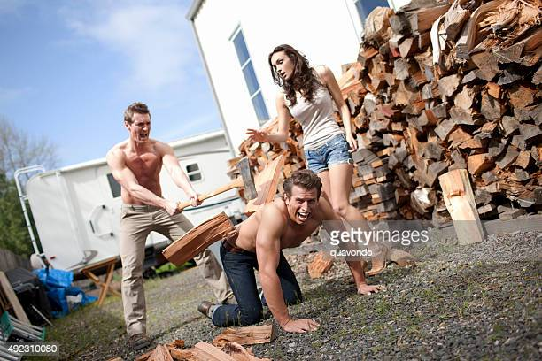 Superheros Chopping Wood
