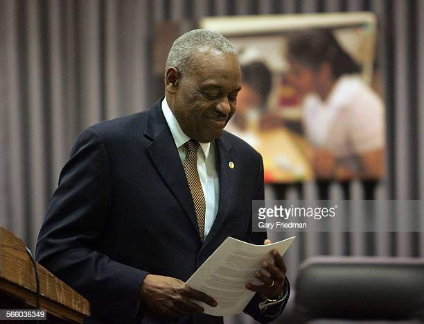 Superintendent David L Brewer III leaves the podium after he announced at a press conference that he is asking the LAUSD school board to honor the...