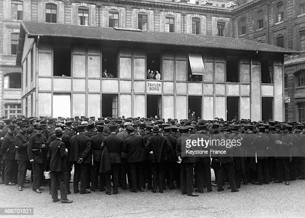 Superintendent Jean Chiappe delivers a speech to policemen gathered in the courtyard of the Prefecture on May 30 1929 in Paris France