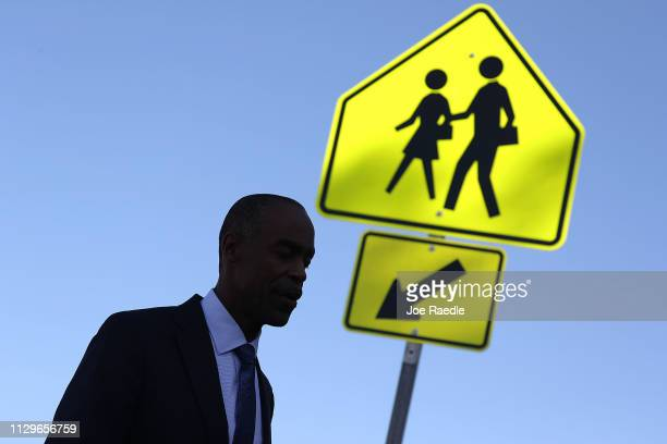 Superintendent of Broward Schools Robert Runcie speaks to the media outside of Marjory Stoneman Douglas High School on February 14 2019 in Parkland...