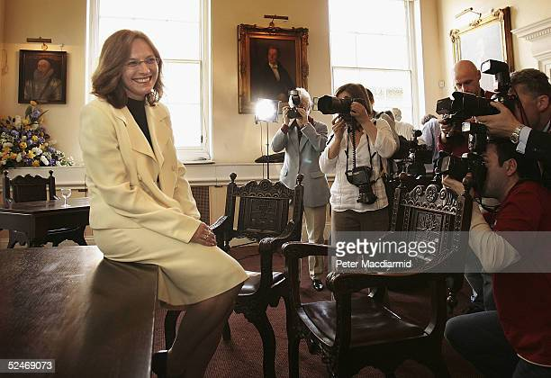 Superintendent Registrar Clair Williams poses for photographs in the Ascot Room at the Guildhall on March 23 2005 in Windsor England Ms Williams will...