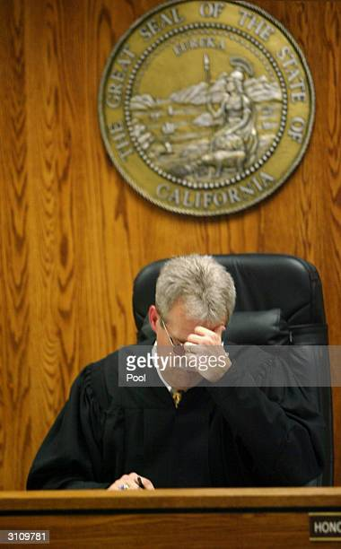 Superior Court Judge Brant K Bramer speaks at a hearing for accused killer Marcus Wesson March 18 2004 in in Fresno California Wesson's arraignment...