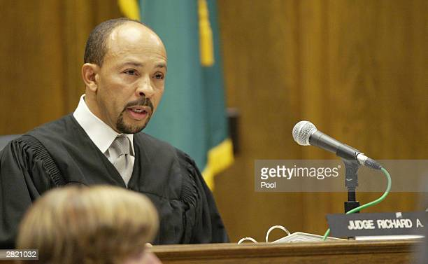 Superior Court Judge Richard A Jones reads the sentence of life without parole to Gary Ridgway in King County Washington Superior Court December 18...