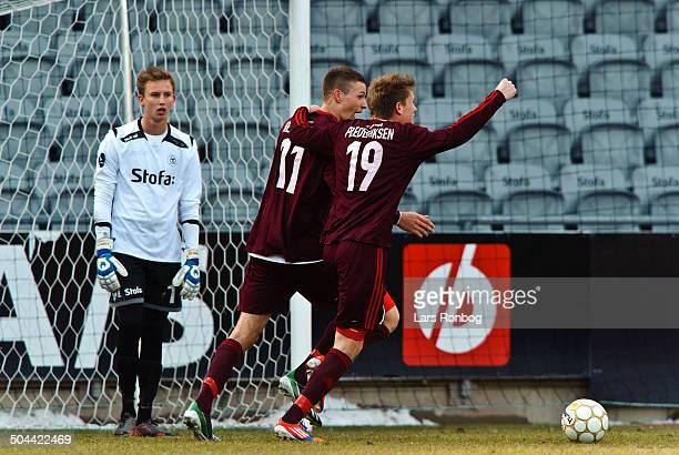 Superliga AC Horsens vs AaB Nicklas Helenius AAB Aalborg Søren Frederiksen AAB Aalborg Keeper Frederik Rønnow AC Horsens © Lars Rønbøg...