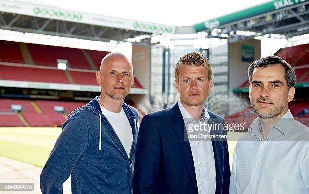 Superliga FCK pressemøde From left Cheftræner Ståle Solbakken FCK Johan Lange FCK Anders Hørsholt FCK © Jan Christensen/FrontzoneSportdk