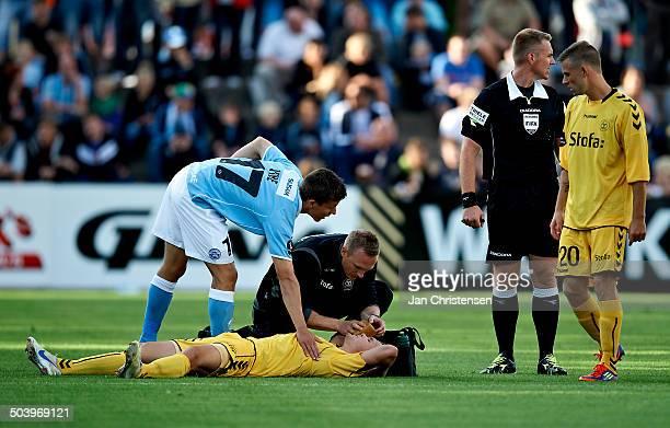 Superliga Troels Kløve AC Horsens is injuried © Jan Christensen/Frontzonesport