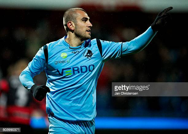 Superliga Yura Movsisyan Randers FC celebrating his 10 penaltygoal © Jan Christensen/Frontzonesport