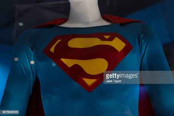 Superman costume from the 1978 Superman film worn by Christopher Reeve and designed by Yvonne Blake is on display at the DC Comics Exhibition Dawn Of...