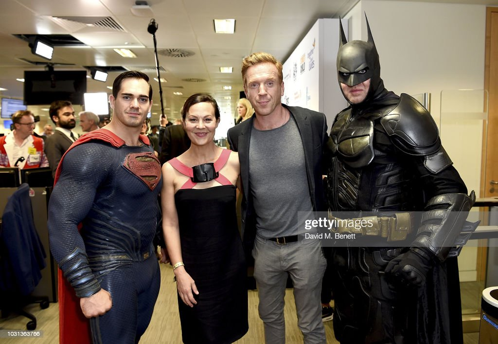 Superman, Helen McCrory and Damian Lewis representing the Sir Hubert Von Herkomer Foundation and Batman attend BGC Charity Day at One Churchill Place on September 11, 2018 in London, England.