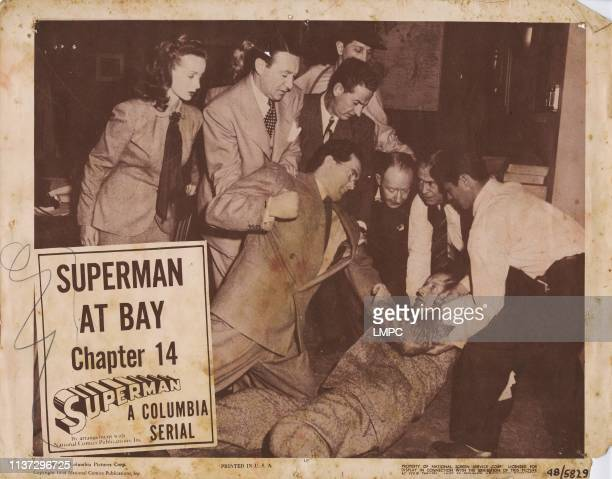 Superman, lobbycard, , from left: Noel Neill, Kirk Alyn , Chapter 14, ' At Bay', 1948.